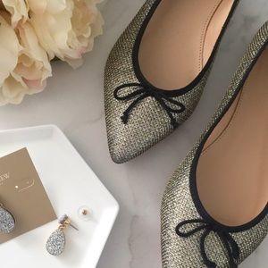 J. Crew Gemma Gold Glitter Pointed Toe Flats